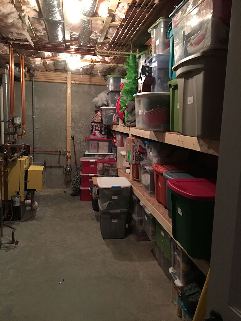Basement Holiday Closet Reorganization